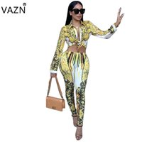 Wholesale Jumpsuits Fashion Design - VAZN 2017 Sexy fashion design Bodycon Jumpsuit Hollow Out 2 Piece Print Jumpsuit Full Sleeve Casual Long Jumpsuit K9124 q171118