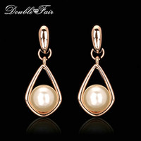 Wholesale Dangle Drop Beads - Pearl Beads Party Drop Earrings Unique Chic Romantic 18K Rose Gold Plated Fashion Brand Water Drop Anniversary Gift Jewelry For Women DFE424
