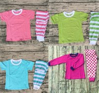 Wholesale Girls Pant Coat Design - pure color coat and stripe pant outfits cheap wholesale new design lovely candy color short sleeve pajamas multicolor optional