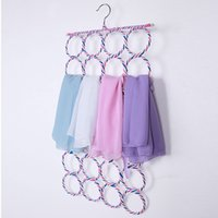 Wholesale 4 Size Belt Tie Hook Storage Rattan Weave Slots Circle Hanger Rack Scarves Home Shawls Neckties Organizer Holder