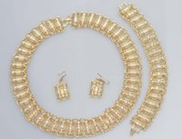 Wholesale Indian Dress For Free Shipping - meinikaka 2017 Free Shipping African Costume Jewelry Set Gold Plated Fashion Necklace Earring Bracelet For Women Crystal Dress Party Accesso