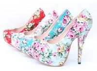 Wholesale Dress Shoes Wedding Vintage Women - Women Pumps 2017 Hot Vintage Floral Print High Heels Women Party Wedding Shoes High Heels Platform Shoes Woman plus size 34-43
