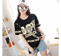 Wholesale Wholesale Foil Dress - Gold foil printing Couple t-shirt Lively hot selling Eagle and Chain winding personalty tshirt dresses free shipping