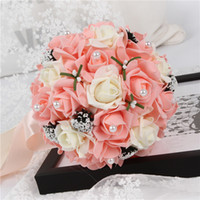 Wholesale Hand Bouquet Rose Pink - Pink Bridal Bouquet Flowers with Hand Made Flowers Foam Rose artificial wedding bouquets Elegant Bridal Holding Flowers Maid of honor bouque