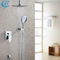 Wholesale Shower Set Chrome Bathroom - Chrome Polished Rainfall Bathroom Shower Head Three Function Hand Shower Contemporary Bath Shower Faucet Set 005-8A-3