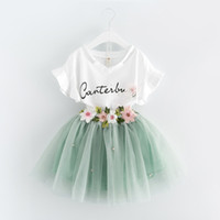 Wholesale Korean Dress Skirt Shirts - Korean Summer 2017 baby girls clothes Dress Suits white letter T shirt Flower tutu skirt 2pcs sets floral children clothing Outfits A488