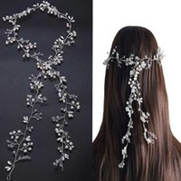 Wholesale Vine Headband - Luxury Crystal wedding hair accessories Headband Simulated Pearl bridal hair vine Hairbands Crown Headpiece Bride Tiara Jewelry