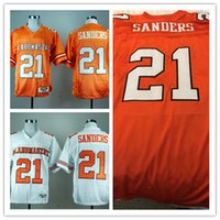 Wholesale Football Cowboys - Mens white Oklahoma State Cowboys College Football Jerseys stitched Orange #21 Barry Sanders OK state NCAA throwback Football Jersey S-3XL