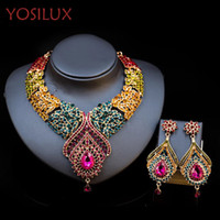 Wholesale Dubai Jewelry Sets - Luxury Necklace Earrings Jewelry Set for Women Dubai 18k Gold Plated Necklace Shinning Crystal Jewelry YOSILUX B005