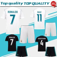 Wholesale Men White Suit Shirts - Real Madrid Home white Soccer Jersey suit 17 18 Real Madrid away black soccer shirt kit 2018 Ronaldo Football uniforms Asensio jersey+shorts
