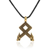 Wholesale Wholesale Wolf Head Pendant Necklace - Viking Rune Pendants Odal With Wolf Heads Othila Othala Norse Ethnic Jewelry Talisman Amulet Pendant Necklace Men Jewelry and Accessories