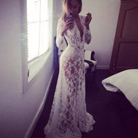 Wholesale Ml Lace Dress White - 2017 lady hot white sexy deep V-neck long-sleeved lace perspective tight-fitting tail dress dress ML 017
