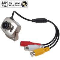 mini cámara a color por cable al por mayor-1/3 de pulgada CMOS Mini con cable CCTV Seguridad Color Visión nocturna Infrarrojo Videocámara IR Cámara CCT_533