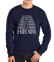 Wholesale Door Letters - Wholesale-2016 autumn winter Hold the door Hodor sweatshirt Game of Thrones men european style male harajuku high quality hoodies hoody