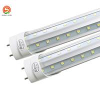 portes blanches achat en gros de-T8 LED Tube Lumière g13 2 broches 8ft 6FT 5FT 4FT 1.2M-2.4m LED V Forme Double Lumière Glow