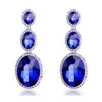 Wholesale chandelier wedding dress resale online - Luxury Sapphire Gem Crystal Dangle Drop Earrings for Women Fashion Silver Long Earrings for Party Dress Jewelry Wedding Gift