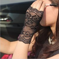 Wholesale Ladies White Gloves Wholesale - Vintage Sunscreen Semi-finger Gloves Summer Jacquard Nylon Ladies Anti-UV Driving Lace Floral Semi-finger Gloves with Acrylic