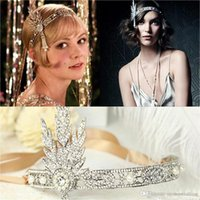 Wholesale Gatsby Headpiece - Hot Great Gatsby Vintage Headbands Hair Bands Headpieces Bridal Wedding Jewelries Accessories Silver Crystals Rhinestone Pearls CPA237