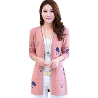 Wholesale Umbrella Sleeves - Wholesale- Cardigan Women casual Knitted sweater Fashion Long-sleeve Tops Women Long Cardigans Spring and Autumn cute umbrella Sweaters