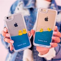 Wholesale Duck S4 - Swimming Rubber Duck Waterfall Aqua Tank Fluid PC Case For iphone 5 5s 6 6s plus samsung s4 5 6 edge Transparent Dynamic Flowing Liquid Case