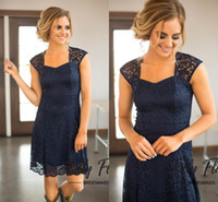 Wholesale drape style wedding dress for sale - Group buy Dark Navy New Country Style Bridesmaid Dresses Modest Full Lace A Line Knee Length Wedding Guests Wear Cheap Maid Party Dresses