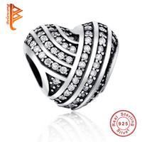 BELAWANG Original Charm Fit Pandora Bracelet Necklace Autêntico 925 Sterling Silver Heart Beads DIY European Jewelry Making Free Shipping