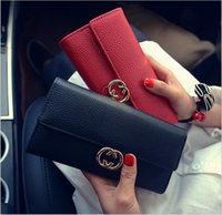 Wholesale Korean Ladies Hand Bags - Wallet lady 2017 spring new style long purse Korean edition three fold hand bag of lychee metal money clip spot wholesale