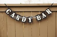 Vente en gros - Livraison gratuite 1X Black Handmade CANDY BAR Wedding Bunting Banner Photo Props Birthday Party Decoration Prop