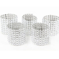 Wholesale Wholesale Table Covers Weddings - Wholesale- 50pcs 8Rows Diamond Mesh Rhinestone Bow Covers Holders Wedding Napkin Rings DIY Decorations Table Decor Craft Wholesale