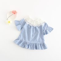 Wholesale Girls Ruffle Shorts Top - Everweekend Girls Stripes Lace Neckline Tees Ruffles with Bell Sleeve Sweet Children Baby Kids Summer Clothing Tops
