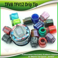 Wholesale Dripping Atomizer Stainless Steel - Demon Killer Epoxy Resin Drip Tip Colorful magic Stainless Steel Wide Bore drip tips for Smok TFV8 TFV12 Aspire Cleito Tank Atomizers