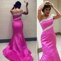 Wholesale One Shoulder Purple Sequin Dress - Hot Pink Satin Mermaid Prom Dresses 2017 Abiti Da Cerimonia Da Sera One Shoulder Evening Dresses with Beads and Sequins