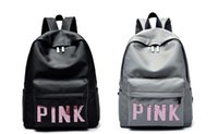 Wholesale Large Leather Tote Bags Wholesale - Pink Sequins Backpack PU Backpacks Pink Letter Black Grey Waterproof Travel Bags Teenager School Bags fast shipping