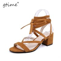 Wholesale Leggings Lace Opening - GTIME 2017 new summer temperament high-heeled sandals female suede straps sandals sexy Roman shoes leggings high heels # ZWB07