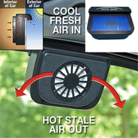 Wholesale Solar Power Auto Car Cooler - ABS Solar Powered Car Window Windshield Auto Air Vent Cooling Fan System Cooler Black Interior Accessories MH722