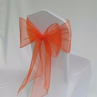 ingrosso cravatta rossa arancione-Red Arancione Organza Coprire la copertura Sash Tie Butterfly Archi Bands Wedding Party Banquet Chair Cover Sash Decoration