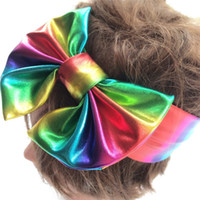 Wholesale Rainbow Flower Bow - Baby BOWS flowers hair bows kids rainbows color cute rabbit bunny ear hairbands children christmas party accessories toddler bandanas T0731