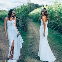 Wholesale Dresses Chifon - Hot Summer Illusion Bodice Boho Wedding Dresses Chifon Sweetheart Sleeveless Open Back Split Bridal Gowns Outdoor Reception Dress