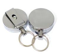 alarme de cinto venda por atacado-Alta Resiliência Aço Keychain Chaveiro Cadeia de Corda Recoil Metal Retrátil Alarme Anti Perdido Crachá Carretel Cinto Clipe