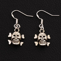 Wholesale Gold Plated Ear Hook - Halloween Skull Earrings 925 Silver Fish Ear Hook 40pairs lot Antique Silver Chandelier E975 Dangle 31.8x12.9mm