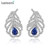 Wholesale Feather Charms Small - Four Color Choice Charm Feather Earrings with Small Tiny CZ Stone White-Gold Color Luxury Party Earrings for Women LUOTEEMI