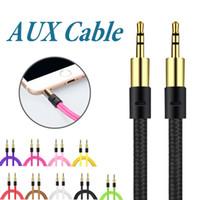 пакет для пк оптовых-Оплетка 3,5 мм вспомогательный шнур между мужчинами AUX кабель стерео аудио кабель автомобиля аудио разъем для наушников PC iPad без пакета