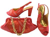 Wholesale African Mahogany - Gorgeous coral shoes match bags with rhinestones series african lady shoes and handbag set for dress MM1043,heel 8CM