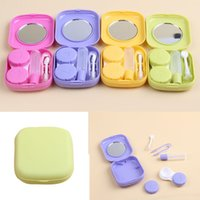 Wholesale Contact Lenses Case Mirror - Portable Cute Pocket Mini Contact Lens Case Travel Kit Mirror Container 5Colors