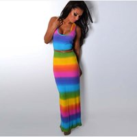 Wholesale Rainbow Dress Maxi - hot new pattern sleeveless crew neck colorful rainbow floral printed summer maxi pencil long dresses for mature women