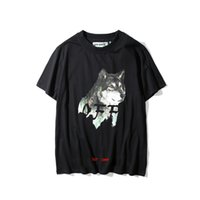 Wholesale S W T - men's lastest Off White fashion brand short sleeve wild wolf printed t-shirt cool tee shirts Hipster O-neck cool tops men tshirts street w