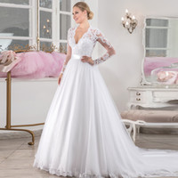 Wholesale boda dresses resale online - Vestido de Noiva Sexy Back Pearls Decoratio Robe de Mariage A Line Long Sleeves Wedding Dress Satin Belt V back Bridal Gowns Boda