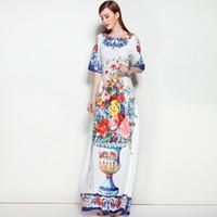 Wholesale Woman Vase - Retro Summer Autumn Dresses 2018 High Quality Vase Floral Print Colorful Exquisite A-Line Long Vestido Women