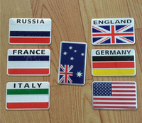 Wholesale france flag sticker - Universal 3D Aluminum American Australia France Russia England Italy national Flag logo Car stickers For Cadillac Chevrolet Lincol Focus