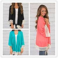 V-Neck Long Sleeve Lantern Sleeve Wholesale- Summer Beach Chiffon Cardigan Lace Crochet 3 4 Sleeve Long Cardigan Tops Hot Selling 3 colors size S-XL free shipping